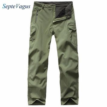 Mens Casual Sweatpants Shark Skin Softshell Thicken Army Military Polar Fleece Windproof Cargo Thermal Camo Pants Fleece Pants