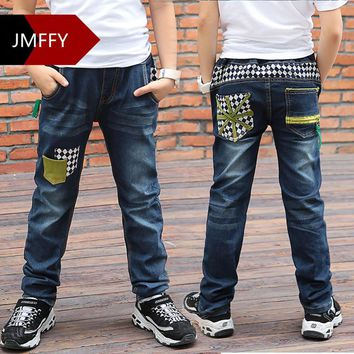 Boys Pants Jeans 2017 Fashion Boys Jeans For Spring Fall Childrens Denim Trousers Kids Blue Patches Elastic Waist Designed Pants