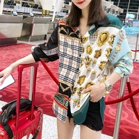 """Burberry"" Women Fashion Retro Multicolor Pattern Print Long Sleeve Cardigan Lapel Shirt Tops"