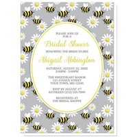 Happy Bee and Daisy Pattern Bridal Shower Invitations