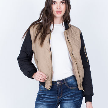 Contrast Quilted Bomber