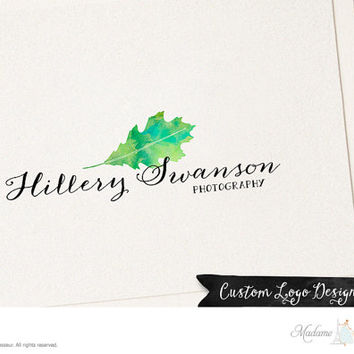 premade logo design watercolor flower logo floral leaf logo photography logo website logo blog logo handwriting logo business logo design