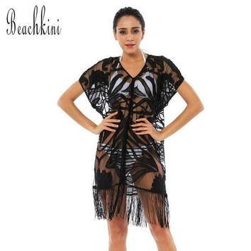ESB8UV 2017 Women's One Piece Lace Beach Cover Up Transparent Mesh Blouse Dress with Tassels V-Neck Short Sleeve Loose Tops