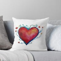 'Red Heart ' Throw Pillow by Manitarka