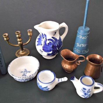 Miniature Vintage Doll House Accessories Flow Blue Copper Pitchers Brass Candelabra