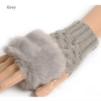 fashion Cute Faux Rabbit Fur Hand Winter Warmer Knitted Fingerless Gloves Mitten = 1668693892