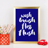BATHROOM DECOR 'Wash Brush Floss Flush' Bathroom Printable Kids Bathroom Art Bathroom Art Print Bathroom Sign Bathroom Rules Sign Bathroom