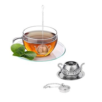 Tea Infuser Steel Loose Teapot Shape Tea Leaf Infuser with Cute Tray Convenient Spice Drinking Strainer Herbal Filter Drinkware