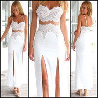 White Crochet Lace Strappy Cut Out Maxi Dress with Slit