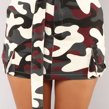 Survivor Camo Skirt - Burgundy