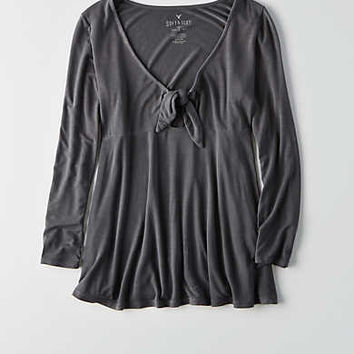AEO Soft & Sexy Tie Front T-Shirt , Black