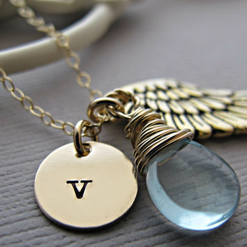 Initial Necklace, Gold / Silver Necklace, Gold / Silver Initial, Angel Wing Necklace, Hand Stamped Jewelry, Gold Initial, Birthstone