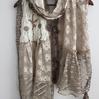 Beige scarf, Cream long scarf, Beige lace scarf, Handmade ivory scarf, Cotton Women's accessories, Unique lace scarf, Powder long scarves