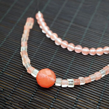 Cherry Quartz Necklace - Layered Stone Necklace - Cherry Stone Layering Jewelry - Red Stone Choker - Gift For Her - Gift For Mom