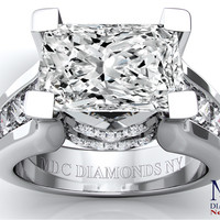 Engagement Ring - Modern Horizontal Radiant Cut diamond Engagement ring - ES550PRRAWG