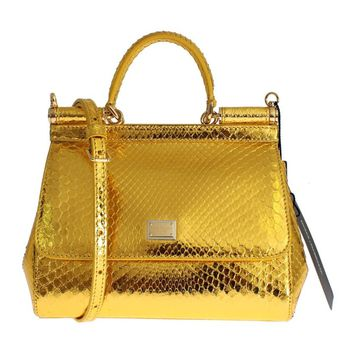 Dolce & Gabbana GOLD Python Snakeskin Leather SICILY Hand Bag