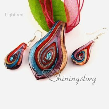 CREYLD1 leaf handmade Italian lampwork murano glass necklaces pendants and earrings jewelry sets cheap ladies jewellery