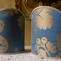 Pair of Clip-On Shield Shades Cherubino Rubelli Blue and Gold Silk Damask Mini Lampshade