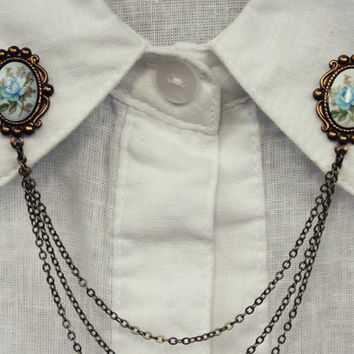blue rose collar pins, collar chain, collar brooch, lapel pin, blue rose pin, rose brooch