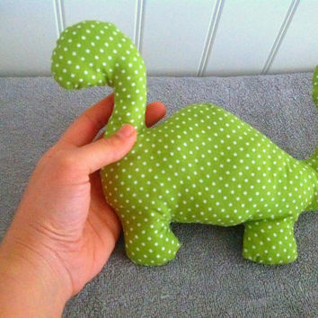 Stuffed Toy - Green Dinosaur - Vegan Toy - Cloth Dinosaur - Eco-Friendly Toy -Vegan Fabric Toy - In Stock Ready to Ship - Fabric Dinosaur.