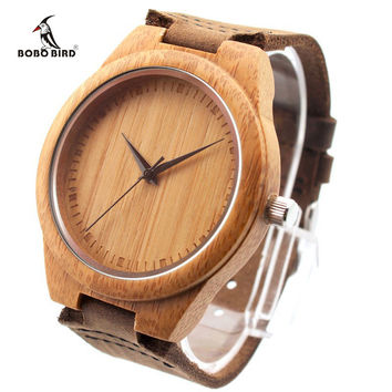 BOBO BIRD Brand Bamboo Watches Japan 2035 Move' Wood Wristwatches with Genuine Leather Band as Gifts for Friends F18