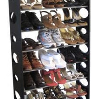 Home Basics Shoe Rack, 30-Pair  (Black)