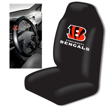 Cincinnati Bengals NFL Car Seat Cover and Steering Wheel Cover Set