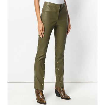 Loewe Leather Trousers - Green Lamb Skin Trousers