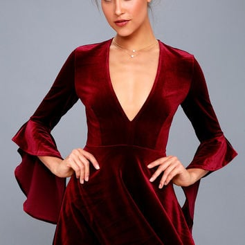 Wrapped in Luxe Burgundy Velvet Bell Sleeve Skater Dress