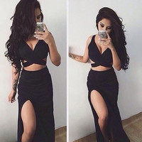 Black Side Slit Long Prom Dresses,Evening Dresses