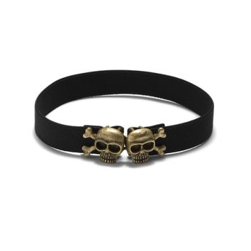 Death Skull & Crossbones Brass Choker