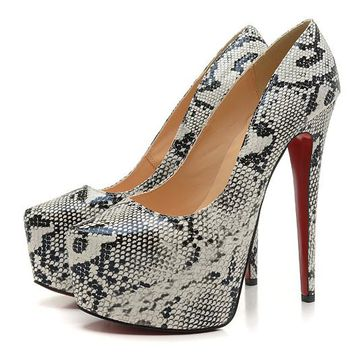 Christian Louboutin Fashion Edgy Gray Snakeskin Red Sole Heels Shoes