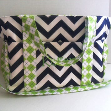 Extra Large Navy Chevron Diaper Bag - Lime Green Argyle- Chevron Diaper Bag - Diaper Bag -  Personalized