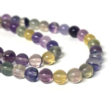 Rainbow Fluorite beads, 8mm round gemstone bead, HALF strand 605S