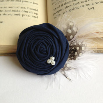 Navy blue bridal Shabby chic rustic vintage rosette flower hair accessory feathers white pearls clip bridesmaid wedding or custom color