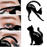 2pcs Eye Liner Template Stencils Cat Eye Top Bottom Eyeliner Card for Cat Eyeshadow Auxiliary Tools Eyeliner Stencils