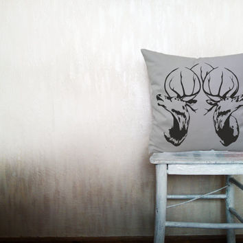 Deer pillow decorative throw pillow cover gray cotton toss pillow case cover hand painted cushion rustic bedding bedroom set 18x18 inches