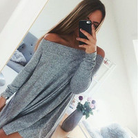 Neckline Off Shoulder Casual Loose Long Sleeved Women Dress b5390