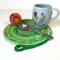 Clothesline Coiled Rope Trivet - Green Snack Mat - Handmade Fabric Placemat - Large Mug Rug - Mouse Pad - Candle Mat - Quilted Coiled Rope