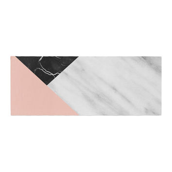 "Cafelab ""Marble Collage With Pale Pink ""  Gray Pink Bed Runner"