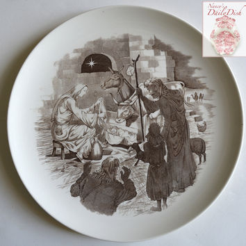 Vintage Copeland Spode Away In a Manger Brown Transferware Christmas Plate