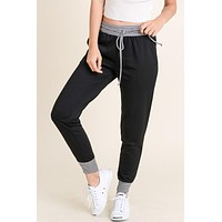 Contrast French Terry Joggers - Black