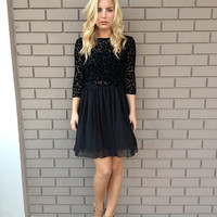 BB Dakota Black Velvet Leopard Corella Dress
