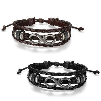 SHIPS FROM USA Independent Design Jewelry Stainless Steel Infinity Symbol Bracelets Bangles Belt Buckle Leather Bracelet
