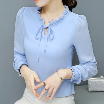 New 2017 Fashion Korean Style Elegant Chiffon Blouse Bow Tie Shirt Stand Collar Long Puff-Sleeve Blusas Women Tops Plus Size