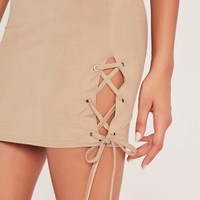 Missguided - Faux Suede Lace Up Side Mini Skirt Nude