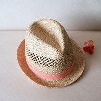 Cantaloupe FEDORA VINTAGE STRAW Women's Hat // by ACESFINDSVINTAGE
