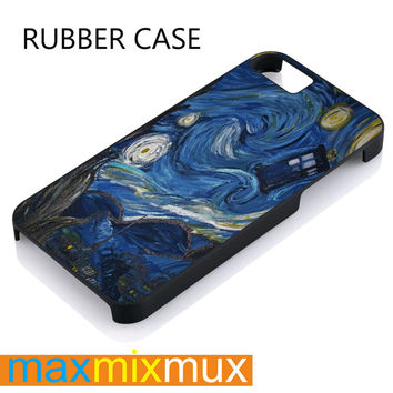 Tardis Dortor Who On Starry Night iPhone 4/4S, 5/5S, 5C, 6/6 Plus Series Rubber Case
