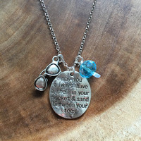 May You Always Have a Shell in Your Pocket and Sand Between Your Toes Necklace, Summer Necklace, Beach Necklace, Sunglass Charm Necklace