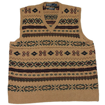RARE Vintage Polo by Ralph Lauren Hand Knit Camel Hair Sweater Vest Mens Size Large